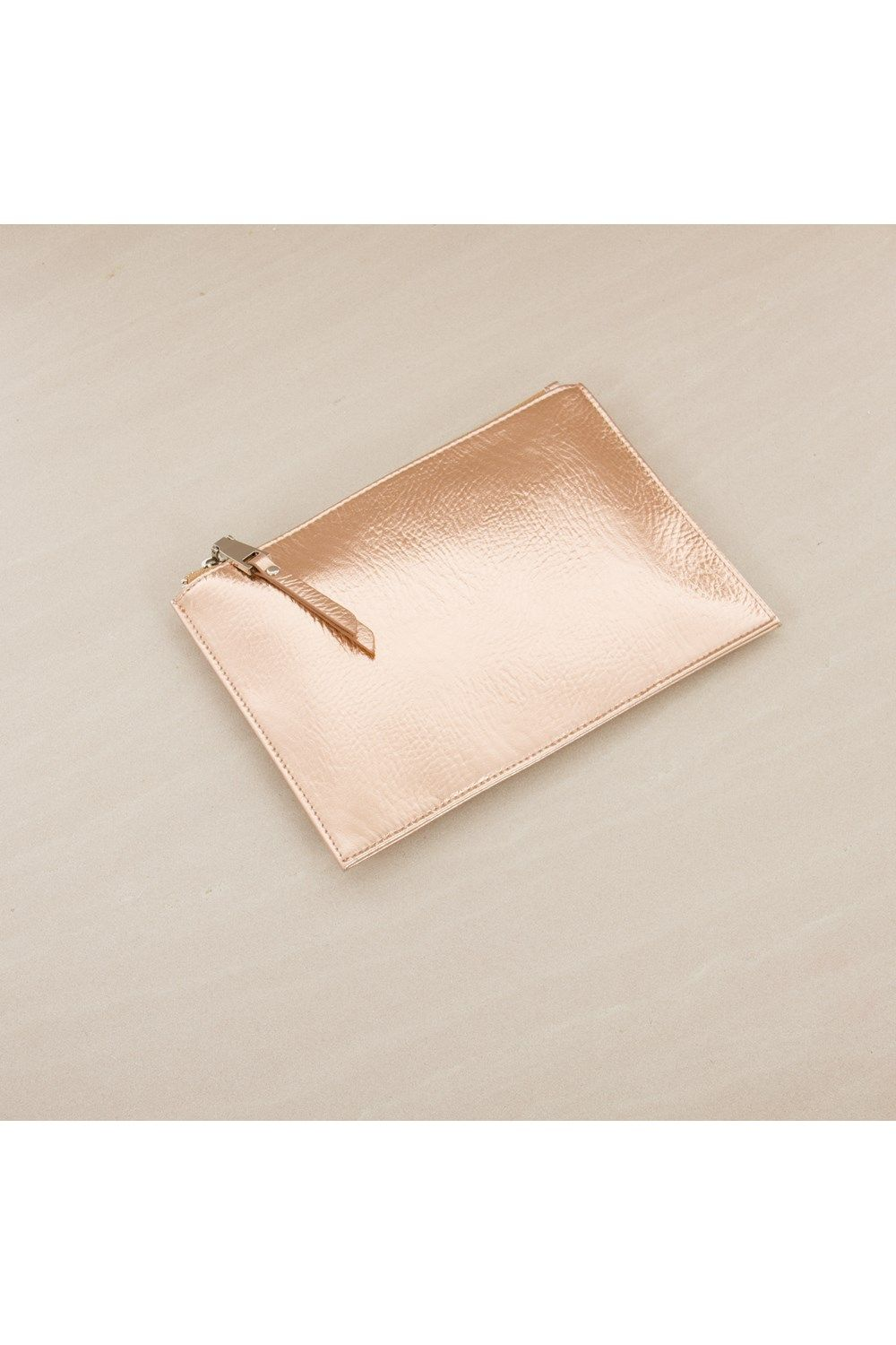 Clutch Society - Metallic Zip Top Simple Clutch - Adorne