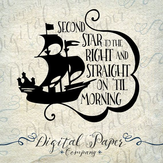 Peter Pan Pirate Ship Star Quote SVG Vinyl by DigitalPaperCompany | Beautiful | Tatuering ...