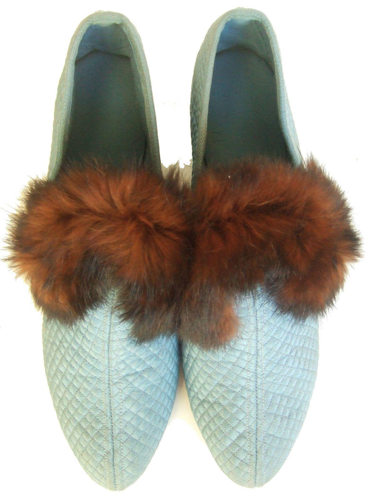 4daffb59fe1 Antique Vintage 20s 30s blue quilted silk slippers louis heels fur ...