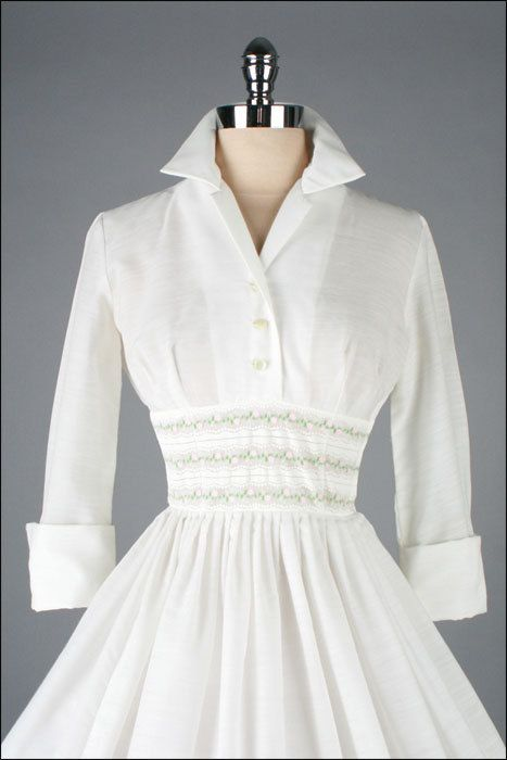 Vintage 1950s Dress . White Cotton . French by millstreetvintage