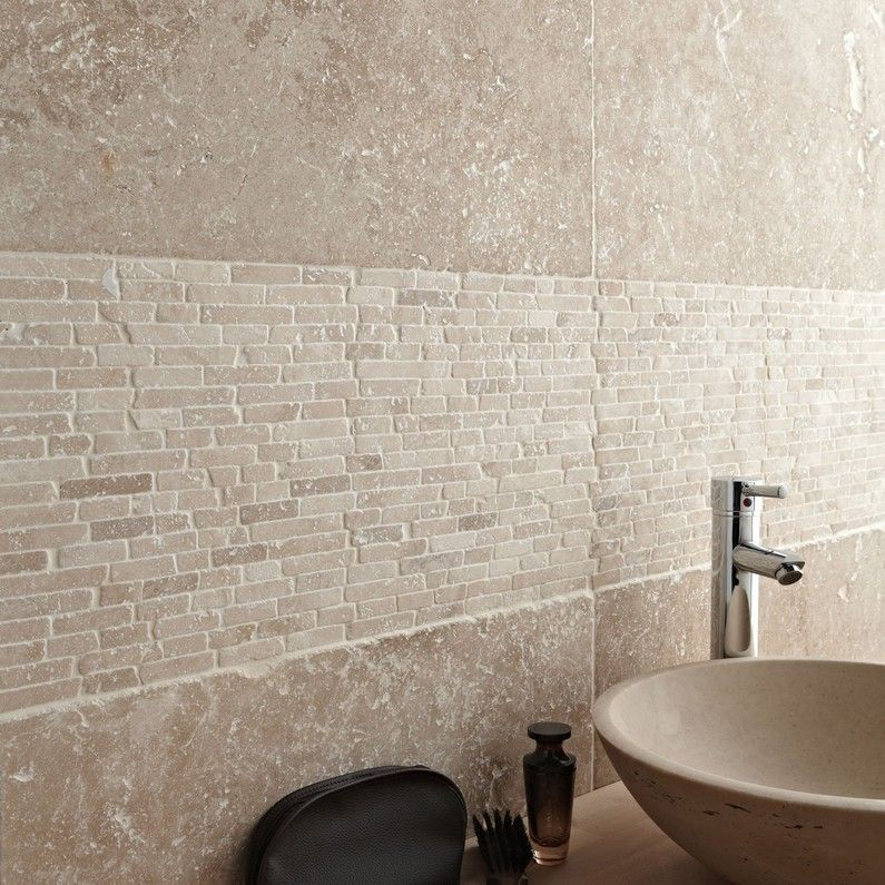 Travertin sol et mur beige effet pierre Travertin l.40.6 x L ...