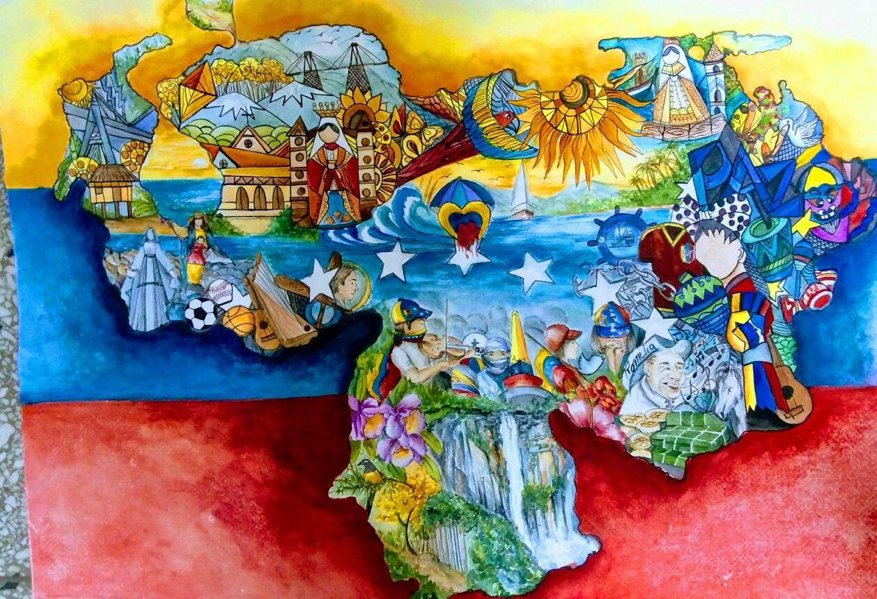 Venezuela Tierra Mia Acuarela En La Tecnica De Zentagle Romelia Cosse Painting Illustration Art Art