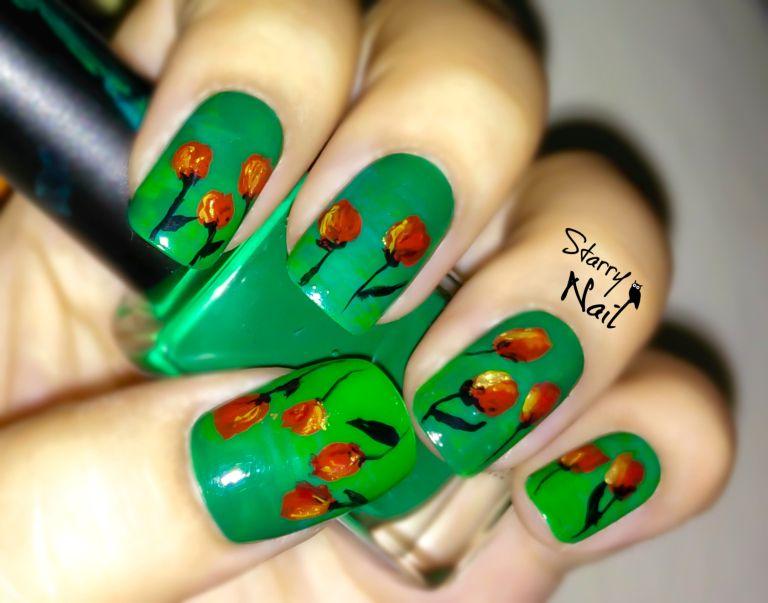 Elegant Tulips (Flowers) Nail Art TUTORIAL #nail #nails #NailArt ...
