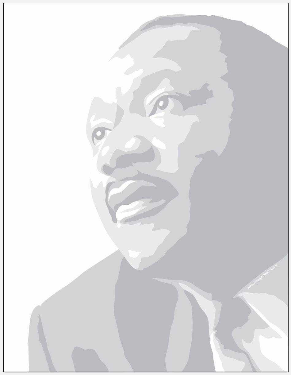New MLK Coloring Page (Art Projects for Kids) | Martin luther king ...