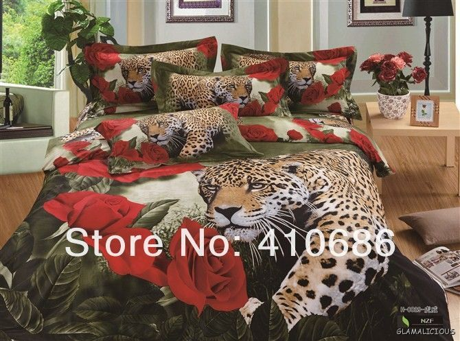 Red Rose And Leopard Animal 4pc 500tc Bedding Set Aussie Seller
