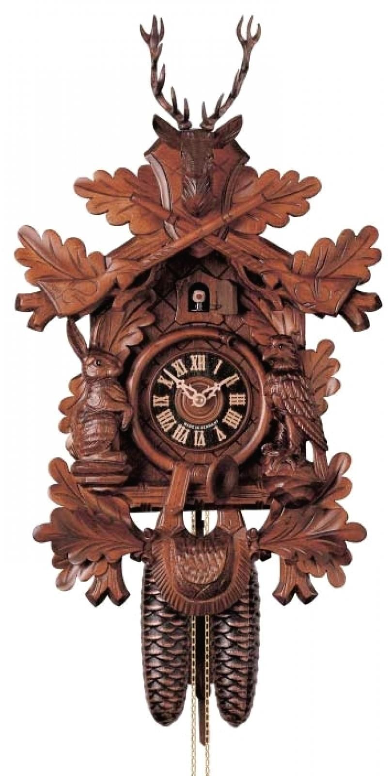 22in Hunting Style Riffles Animals German Black Forest Cuckoo Clock 8 Day Traditional