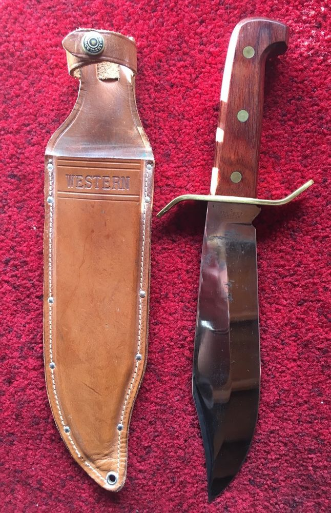 Vintage Western Cutlery W49 I Bowie Hunting Fighting Knife Leather