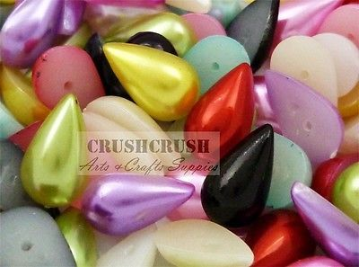 100pcs Mixed Color Pearl Teardrop Gems Cabochons Flat back Setting Decoden F837 | eBay