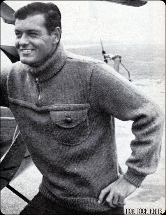 e25eeaad5d89ce No.190 PDF Vintage Knitting Pattern Men s Aviator Sweater - Classic Design  w  Zip Up Collar - 1950 s