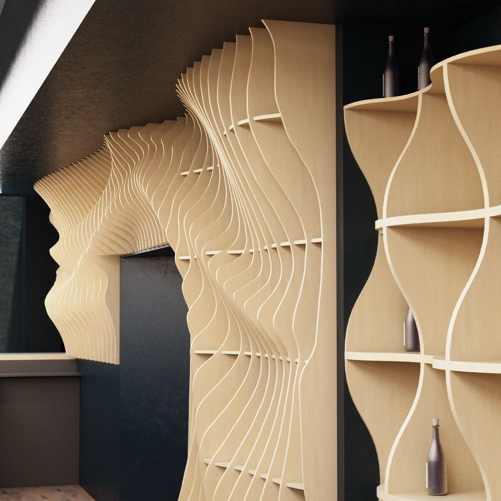 Parametric wall is in the form of the wave. Decoration of the ...