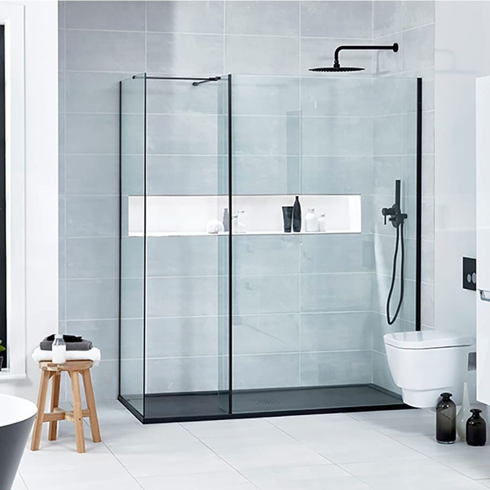 Verona Aquaglass L Shape Walk In Shower Panel 600mm Wide 8mm Glass Walk In Shower Enclosures Walk In Shower Black Shower Tray