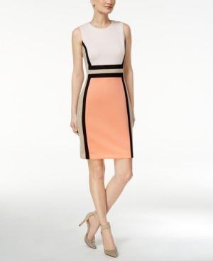 74ea8288de6d Calvin Klein Petite Colorblocked Sheath Dress - Pink 10P Calvin Klein Dress
