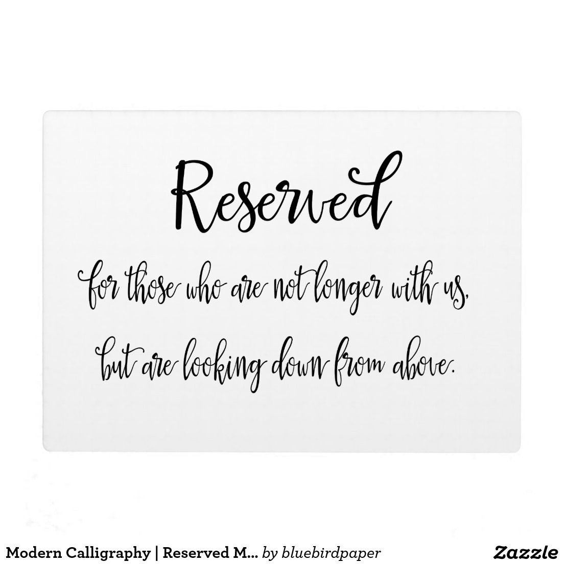 Wedding Memorial Reserved Plaque Sign