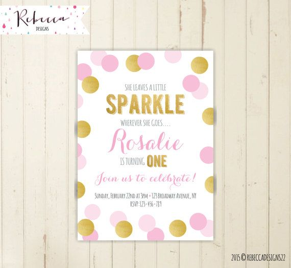 sparkle invitation birthday invitation glitter invitation girl pink