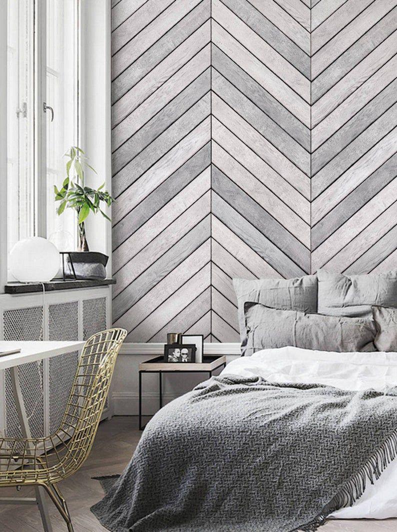 Chevron Grey White Wood Accent Wallpaper Grey White Wood Etsy In 2021 Wood Wallpaper Bedroom Accent Wall Bedroom Grey Accent Wall