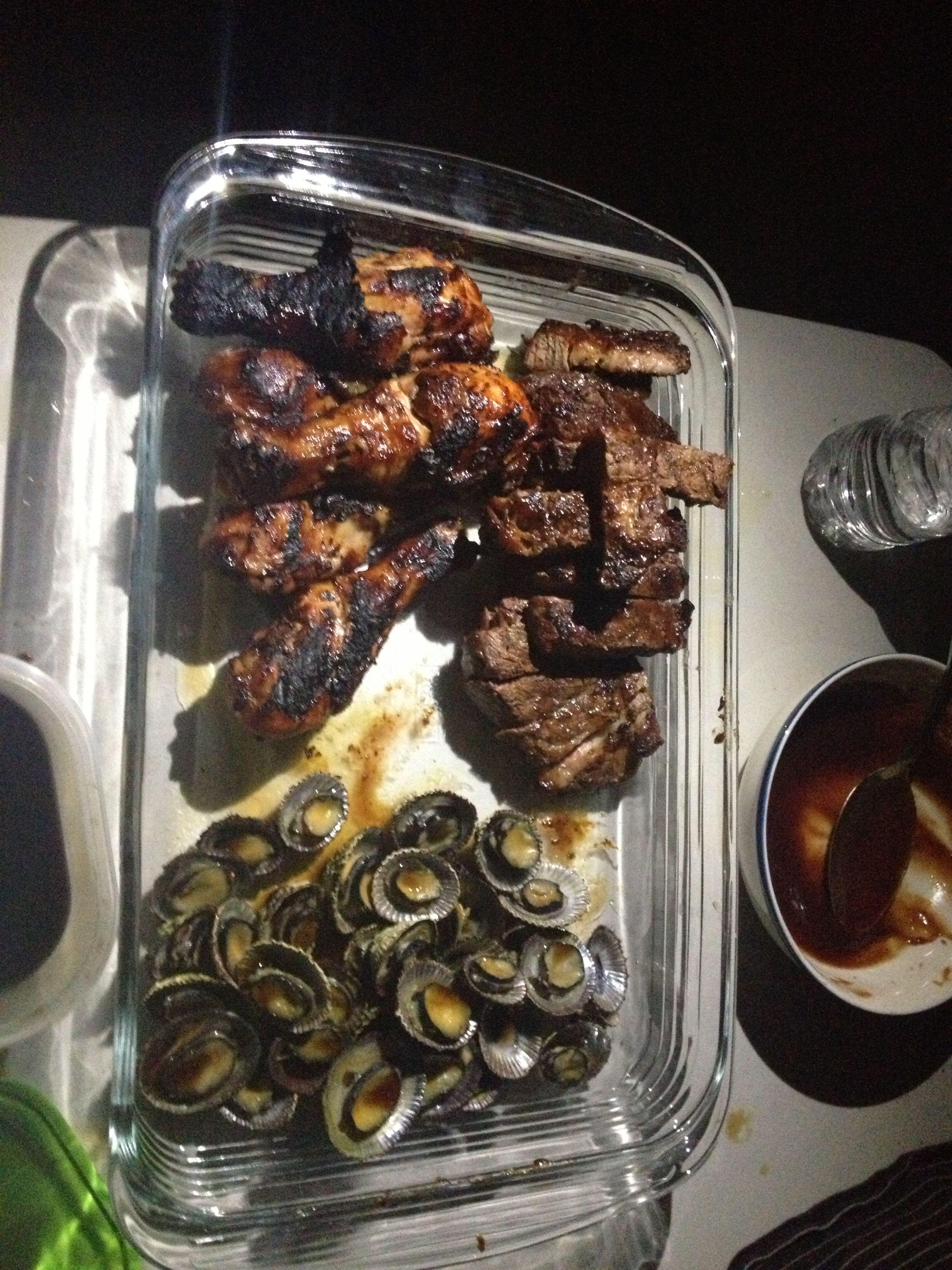 BBQ chicken, steak, & opihi grilled
