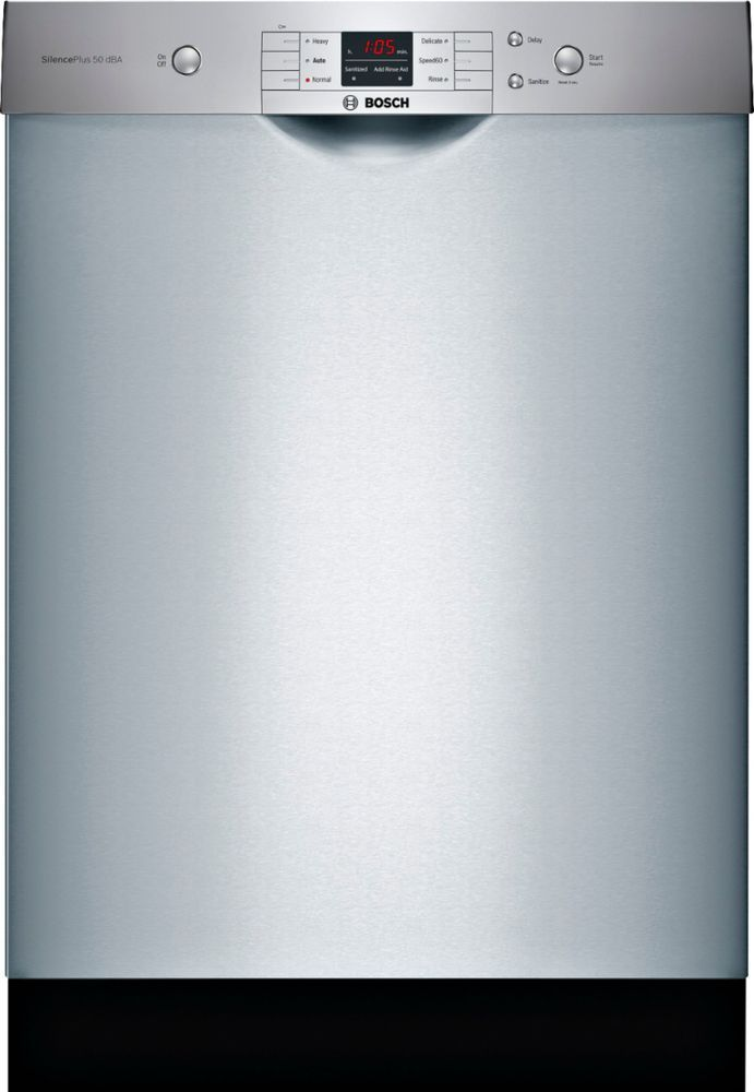 Bosch 100 Series 24 Front Control Built In Dishwasher With Stainless Steel Tub Stainless Steel Shem3ay55n Best Buy Steel Tub Built In Dishwasher Stainless Steel Dishwasher