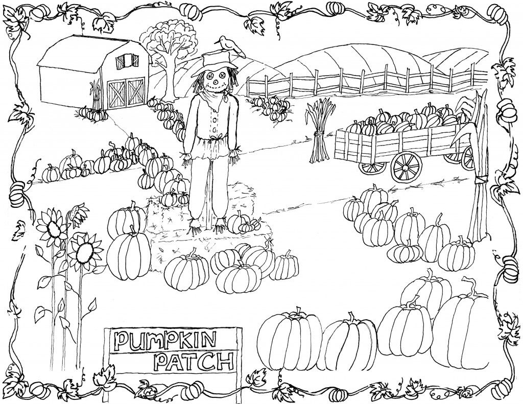 pumpkin patch coloring page printable!  clipart  fall