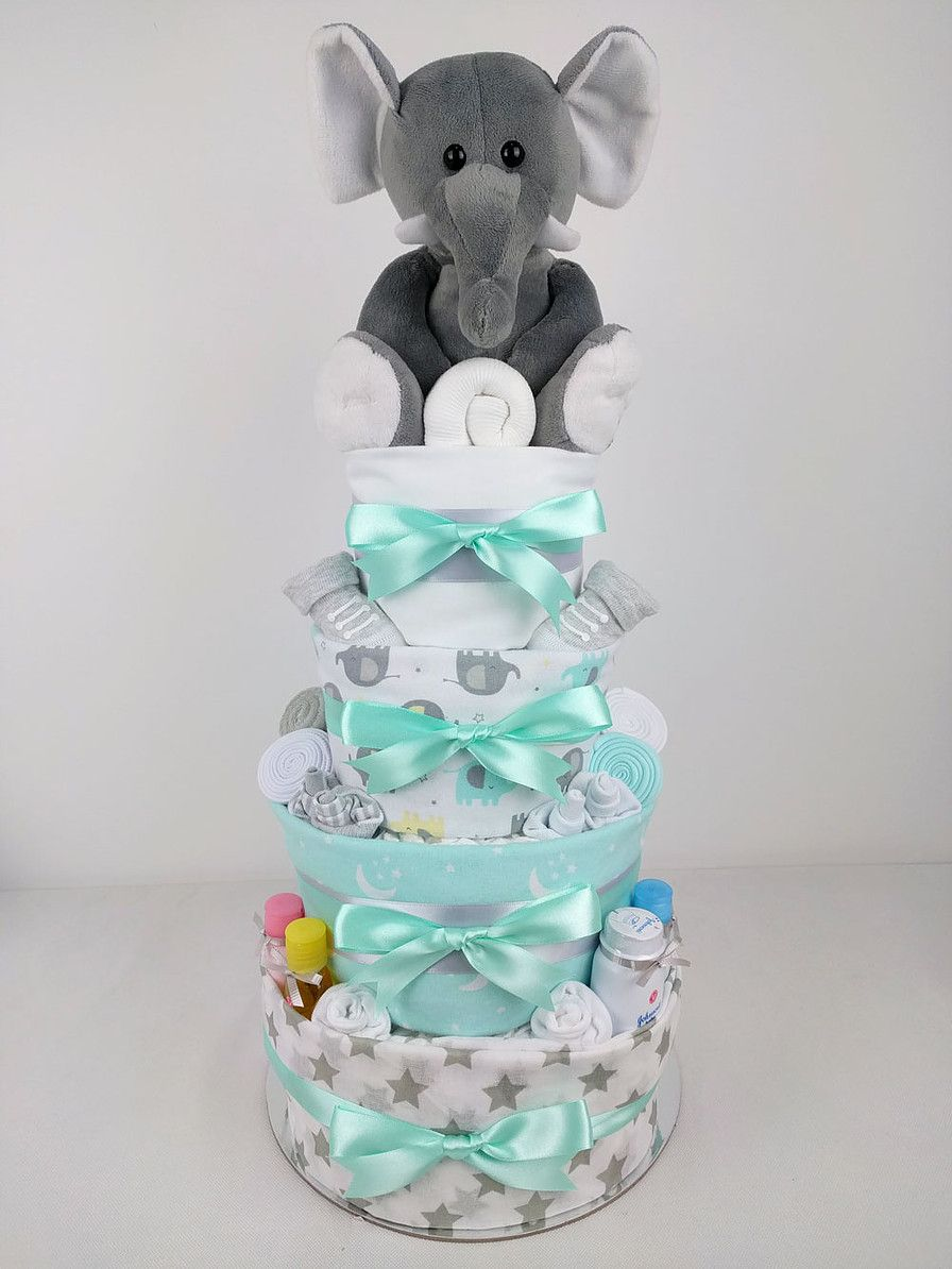 Mint and grey elephant nappy cake baby shower gift ideas mint and grey elephant nappy cake newborn baby giftsgrey negle Gallery