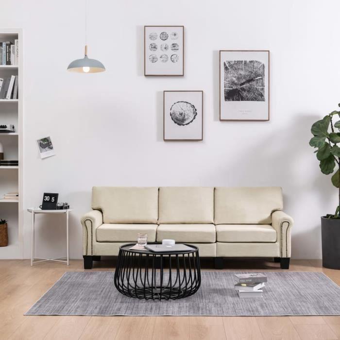 LIA 3 Seater Sofa Cream Fabric # 2