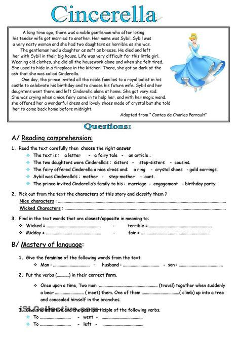 Cinderella | School | Pinterest | English, Worksheets and Reading ...