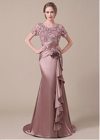 Buy discount Elegant Stretch Satin Scoop Neckline Lace Mermaid Mother of  The Bride Dresses at Dressilyme.com fcd2bd7cf61a