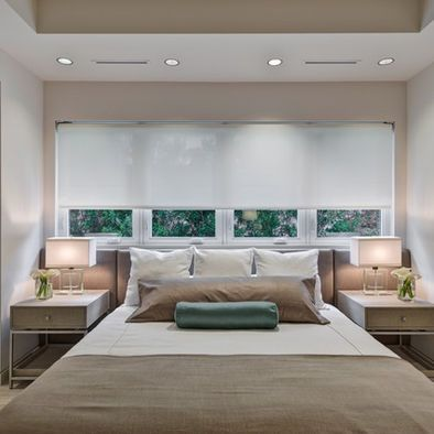 Interesting Space Plan Bed In Front Of Window With Built In