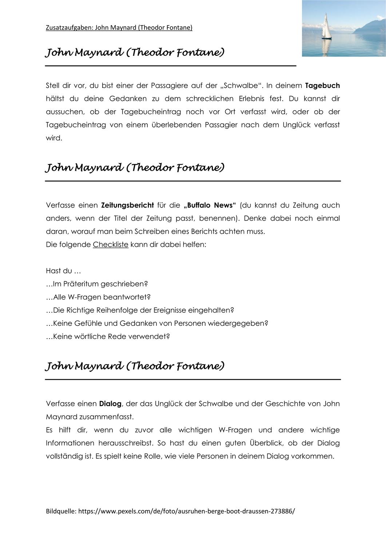 John Maynard Aufgaben Unterrichtsmaterial Im Fach Deutsch In 2020 Unterrichtsmaterial John Kreatives Schreiben
