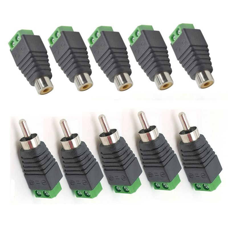 10Pcs Speaker Wire Cable to Male + Female RCA Connector Adapter Plug ...