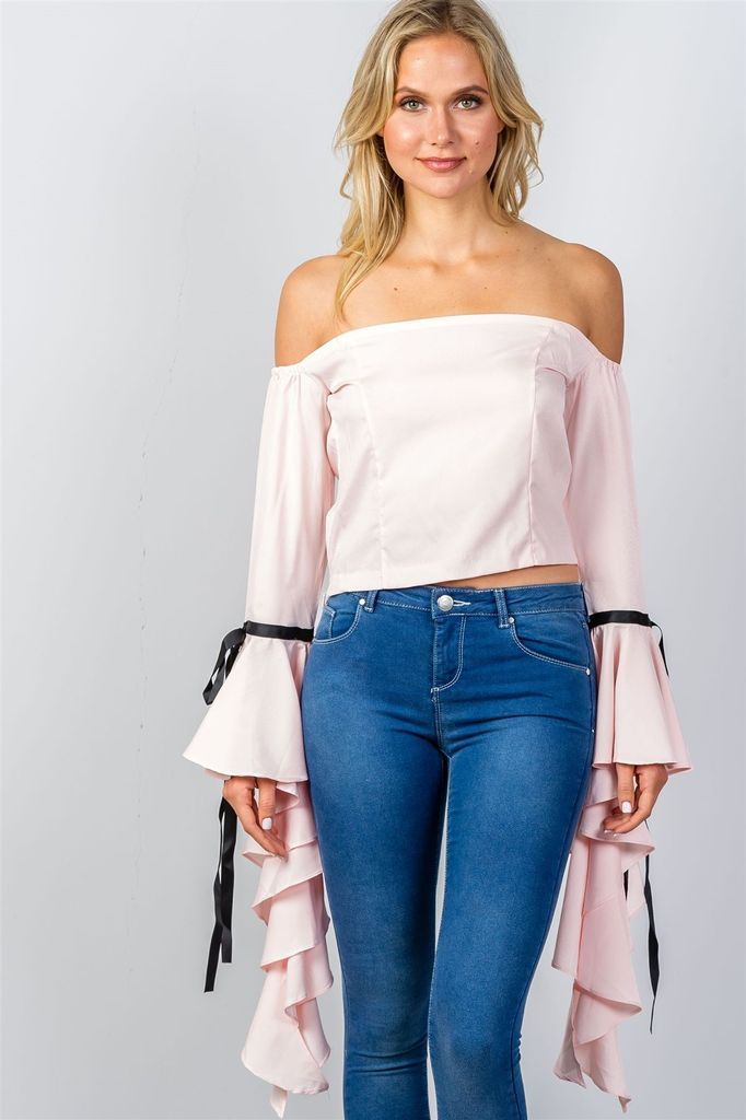 Pink Ruffles Flare Sleeve Off the Shoulder Blouse