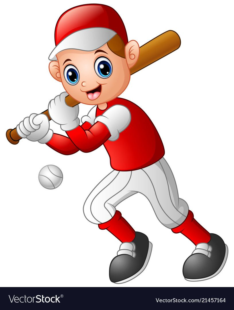 Cartoon Boy Playing Baseball Vector Image On Vectorstock Baseball Vector Cartoon Boy Kids Playing Sports