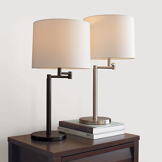 Metro Swing Arm Table Lamp Brushed Nickel With Off White Cotton Shade 99 Table Lamp Wood Table Lamp Bedside Lamp