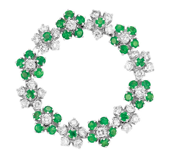 Diamond and Emerald Wreath Brooch, Birks  Platinum, 36 diamonds ap. 1.80 cts., signed Birks.