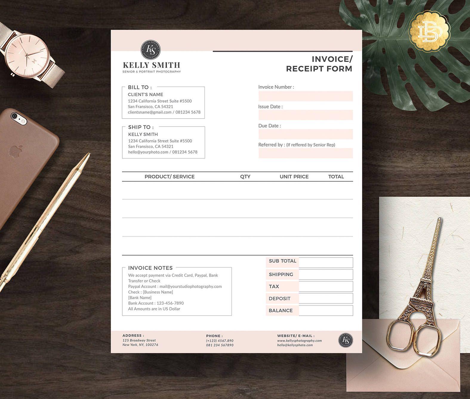Invoice Template For Senior Photographer Photography Invoice Etsy Photography Invoice Invoice Template Photography Business Forms