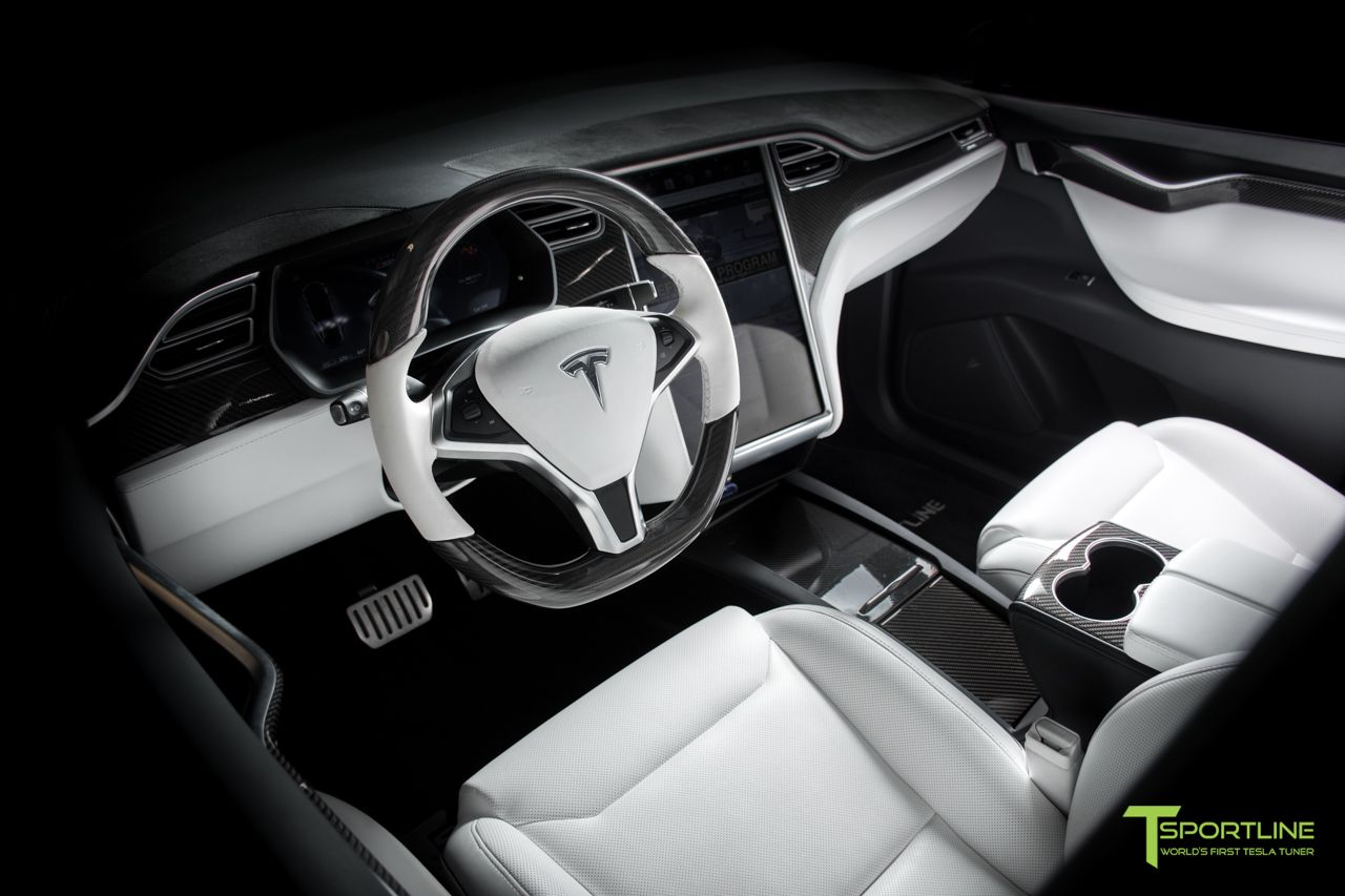 Custom White Model X Interior With Gloss Carbon Fiber Dash Panel Kit Flip Door And Sliding Tray And Steering Wheel Steering Wheel Tesla Tesla Model X