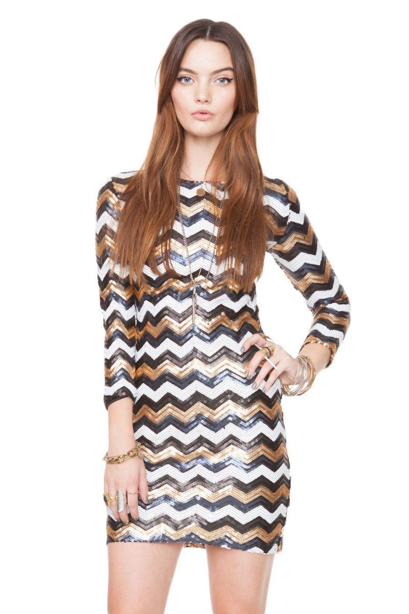 Black, White & Gold Sequin Zig Zag Dress #bodycon #partydress ...