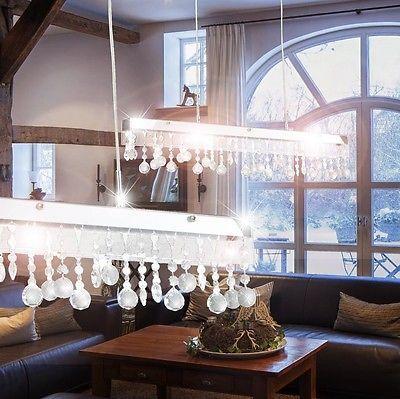 Design Glas Kristalle Pendel Leuchte Ess Zimmer Decken Hänge Lampe Chrom Lüster