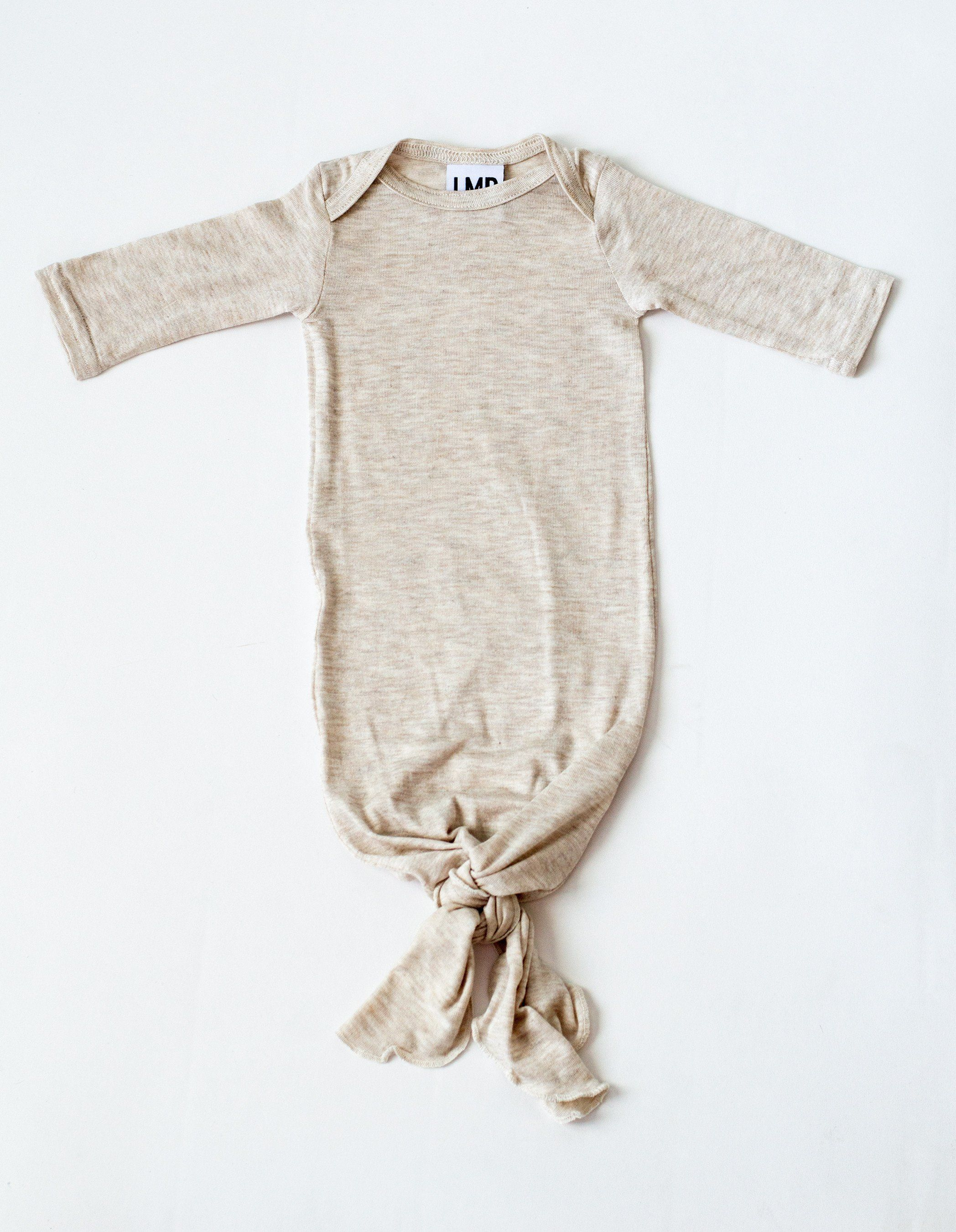 e24924b4f Little Nursling™ Snuggle Knotted Baby Gown | Natural Oatmeal | Baby ...