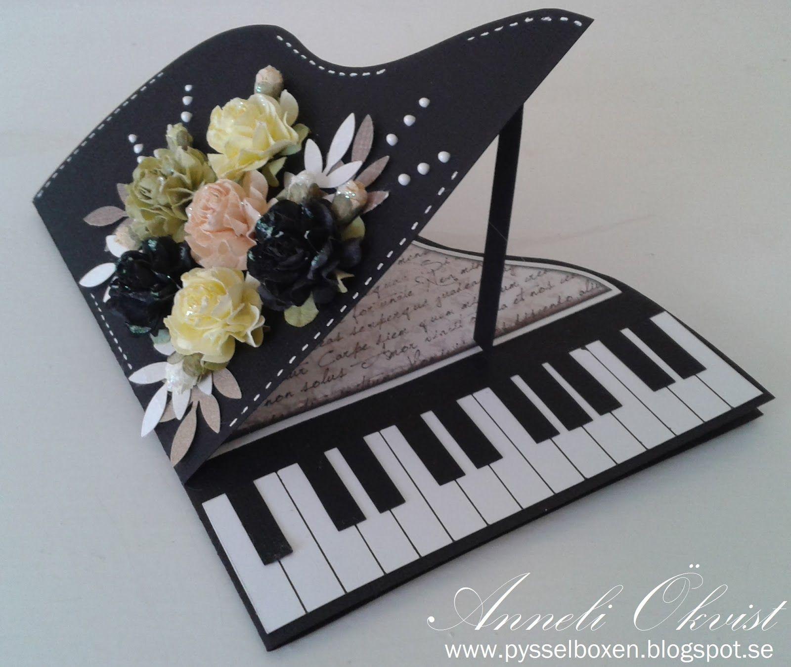 Открытка рояль скрапбукинг шаблон