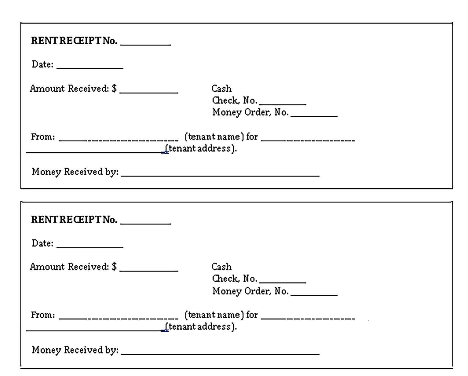 Rental Receipt Template Printable