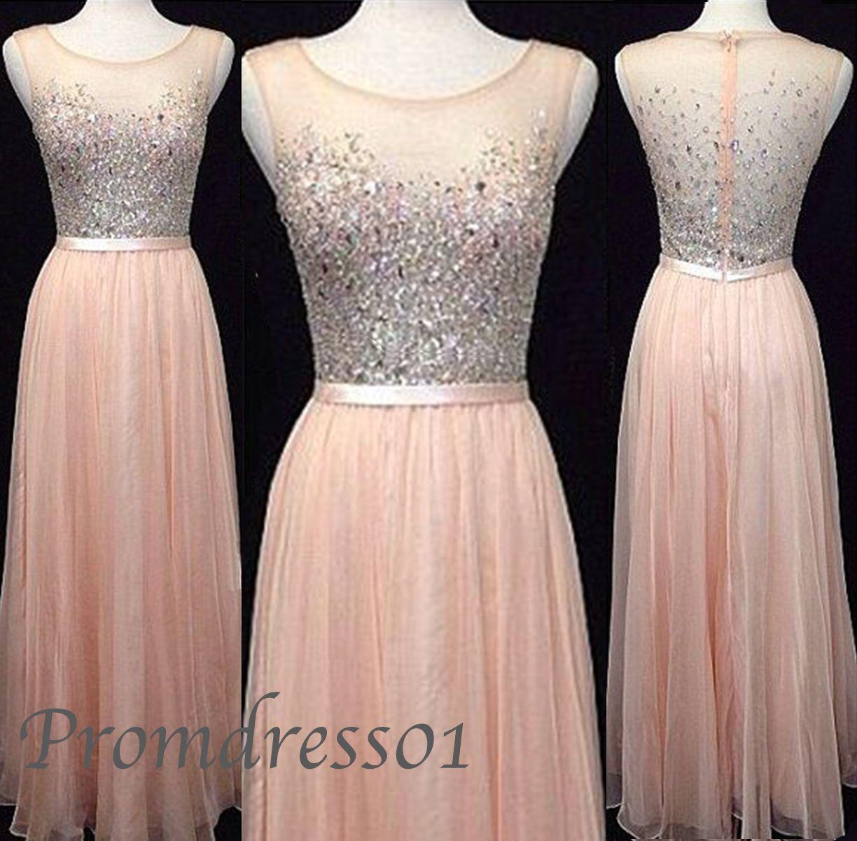 Blush Pink Prom Dresses, Rhinestone | Formal dresses, Dress prom ...