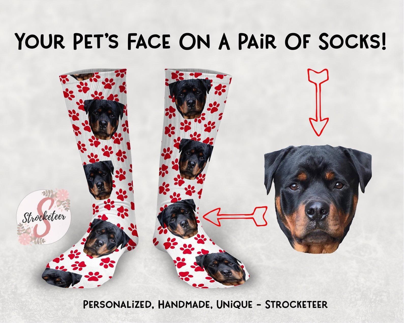 Customized Pet Face Socks With Paw Print Design Custom