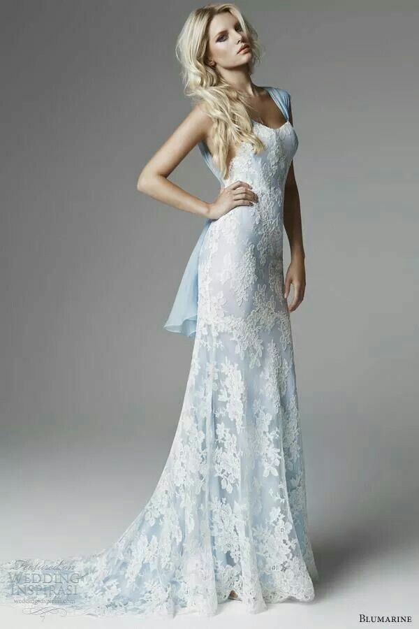 Blumarine Sposa Bergamo \'Something blue\' lace embroidered gown ...