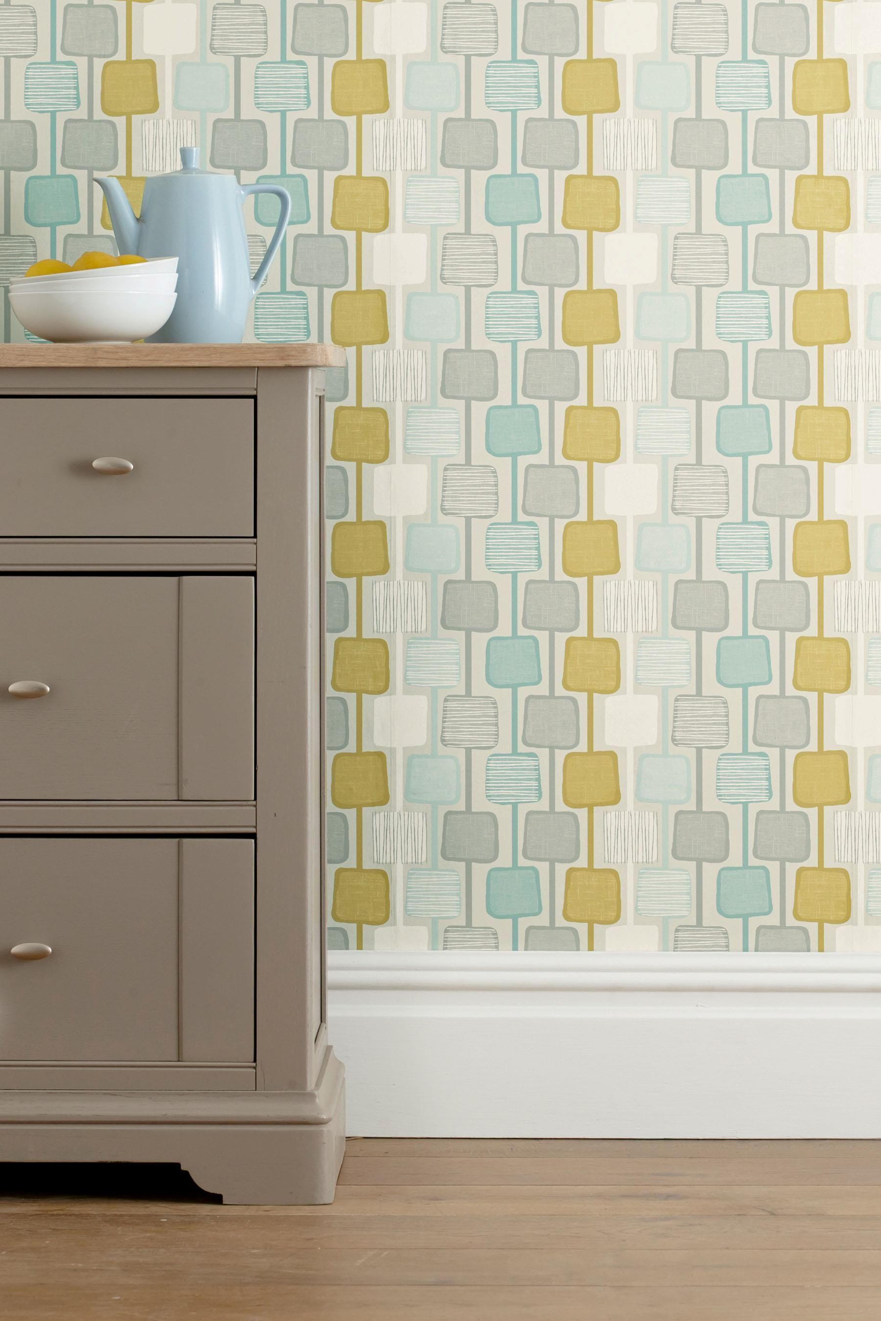 Buy Teal Square Geo Wallpaper from the Next UK online shop