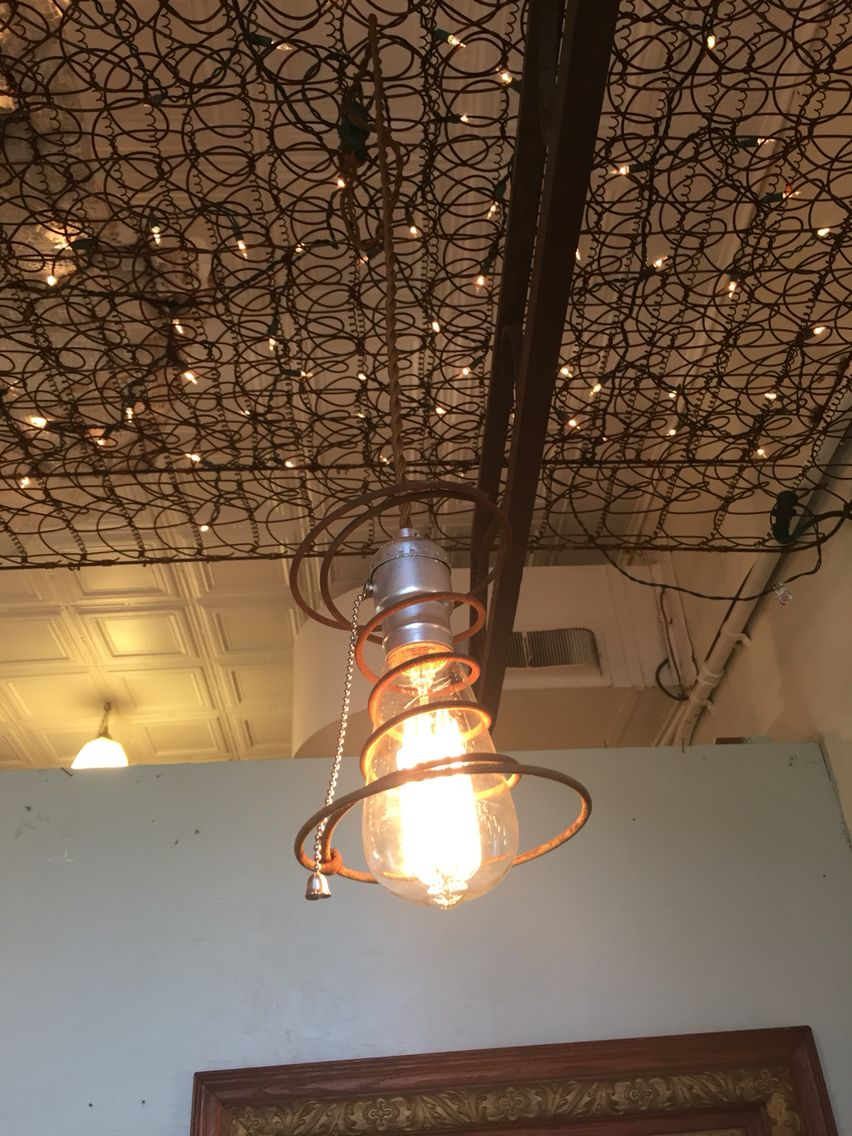 Hanging Pull Chain Light With Edison Bulb And Old Bed Spring Old Bed Springs Mason Jar Lamp Lamp