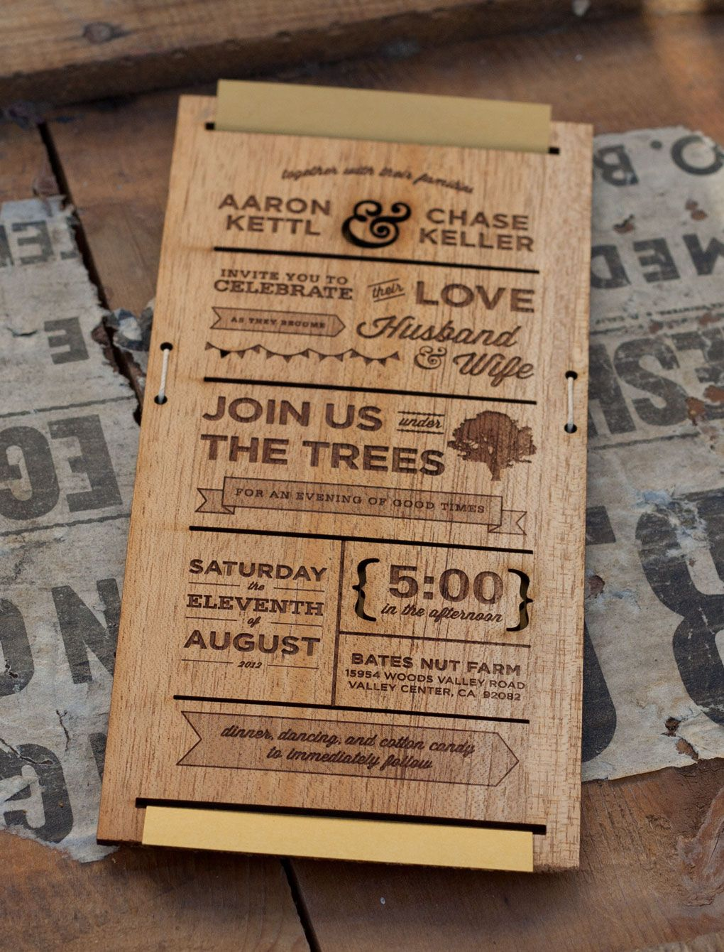 Wooden wedding invitations will give you extra ideas to create your ...