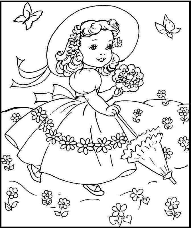 Princess in the garden on spring day coloring picture for for Spring garden coloring pages