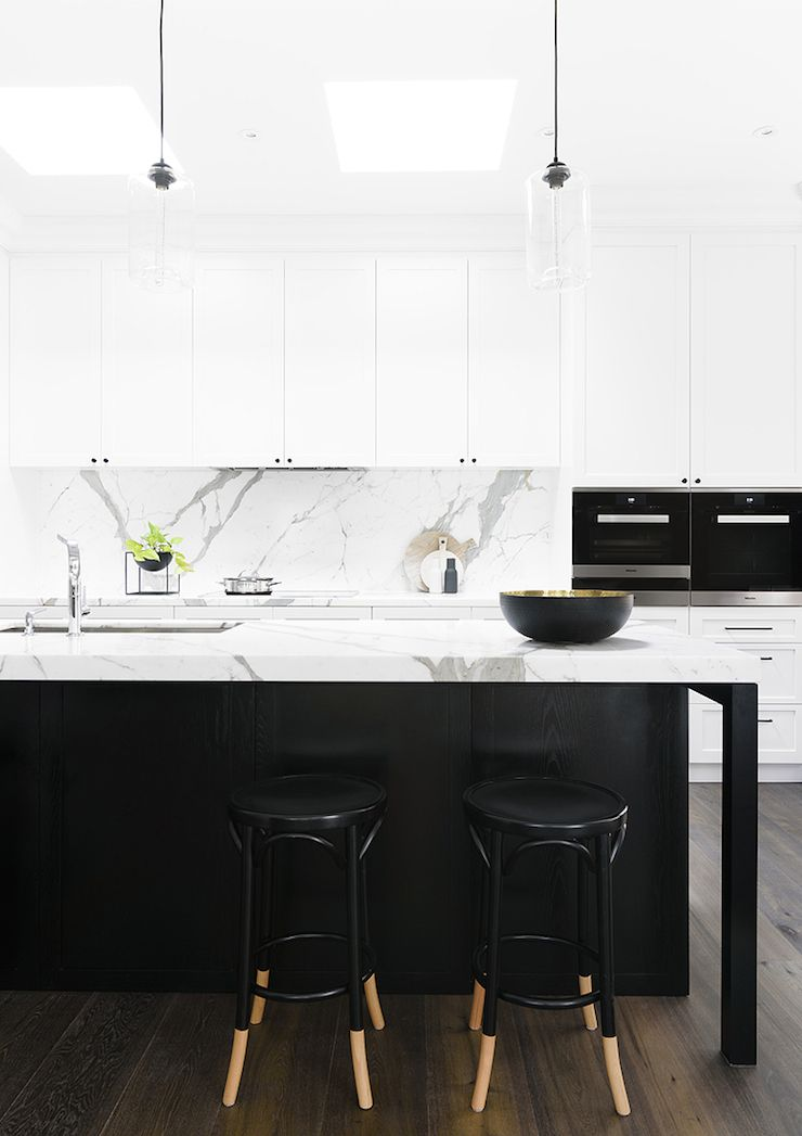 Black and white kitchen marble benchtop and splashback for White kitchen cabinets with black island