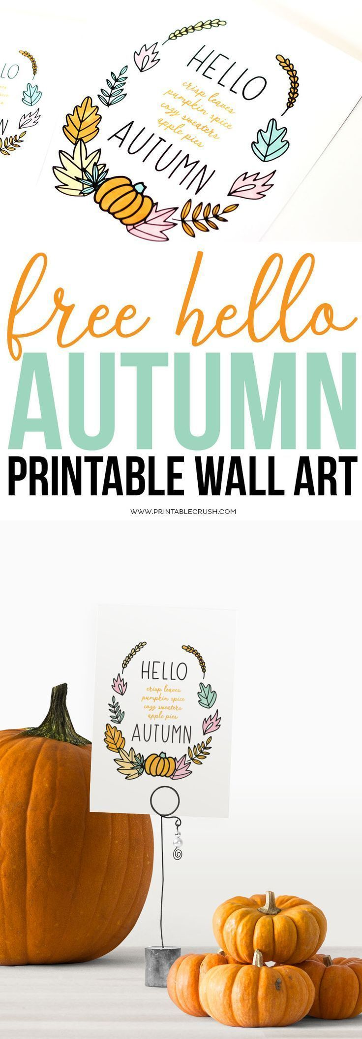 FREE Hello Autumn Printable Wall Art - Printable Crush #helloautumn