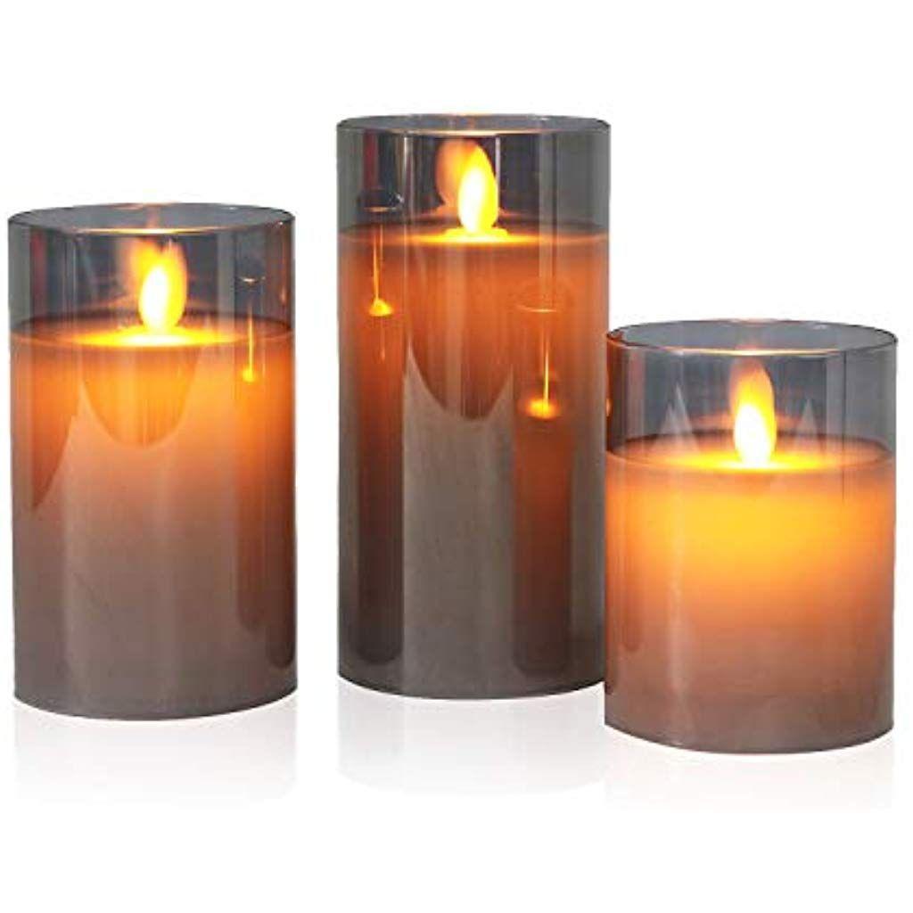 3er Set Grau Led Kerzen Flackernde Flamme Mit Timerfunktion Und